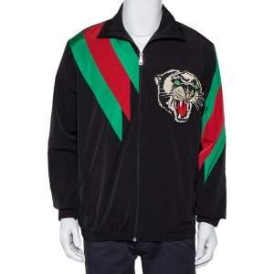 Gucci Black Synthetic Stripe Paneled Tiger Applique Detail Jacket S