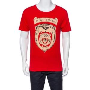 Gucci Red Tiger Head Print Crewneck T-Shirt XS