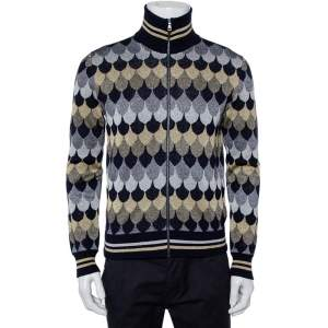 Gucci Navy Blue Patterned Lurex Knit Zip Front Jacket S