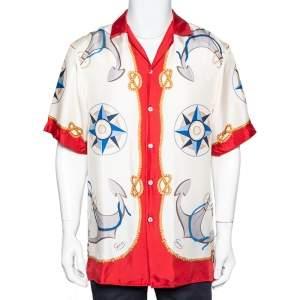 Gucci Cream & Red Nautical Printed Silk Oversized Bowling Shirt XS