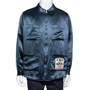 Gucci Dark Green Sateen Worldwide Patch Detail Oversized Shirt Jacket M