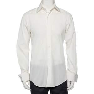 Gucci White Logo Jacquard Cotton Button Front Shirt M