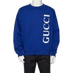 Gucci Navy Blue Logo Printed Cotton Knit Sweatshirt XL