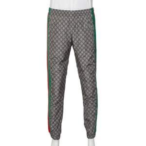 Gucci Beige Logo Printed Web Stripe Detail Joggers XL