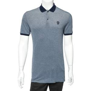 Gucci Blue Cotton Pique Logo Embroidered Detail Polo T-Shirt M