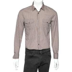 Gucci Brown Checkered Cotton Patch pocket Detail Slim Fit Shirt M