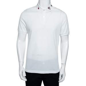 Gucci White Cotton Pique Embroidered Collar Polo T-shirt L