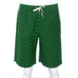 Gucci Green Logo Cotton Jacquard Shorts L