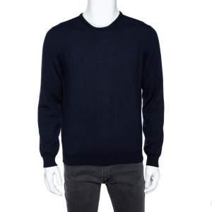 Gucci Navy Blue Wool Leather Tab Detail Crewneck Sweater XXL