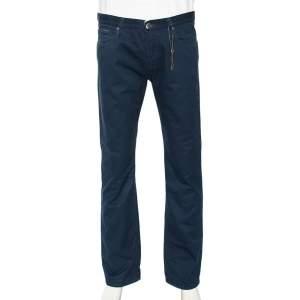 Gucci Blue Cotton Regular Fit Trouser L