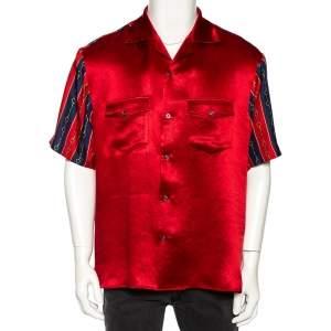 Gucci Red Silk Blend Print Detail Bowling Shirt L