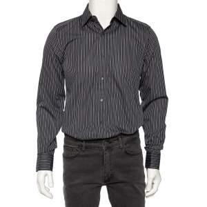Gucci Dark Grey Striped Cotton Slim Front Button Shirt M