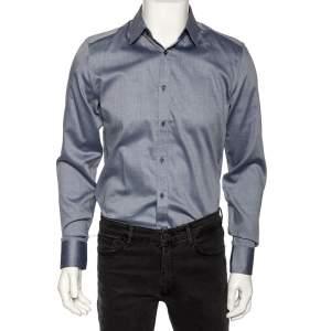 Gucci Slate Blue Patterned Cotton Slim Fit Shirt M