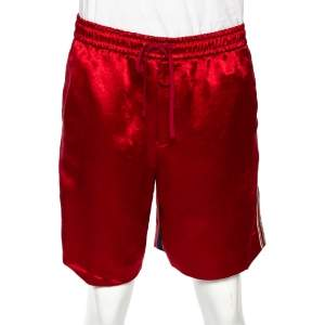 Gucci Red Silk Blend Print Detail Shorts L