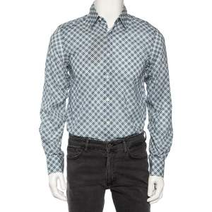 Gucci Blue Dupplin Checked Cotton Front Button Fitted Shirt M