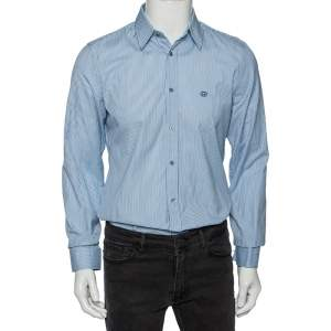 Gucci Blue Striped Cotton Logo Embroidered Detail Slim Fit Shirt M