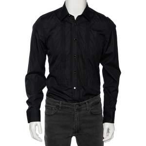 Gucci Black Cotton Pin Tuck Detail Tuxedo Shirt M