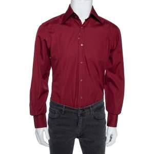 Gucci Maroon Cotton Button Front Shirt M