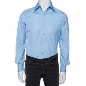 Gucci Sky Blue Cotton Button Front Shirt M