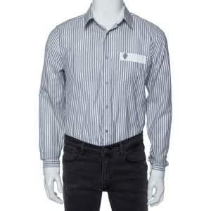 Gucci Grey Striped Cotton Pocket Logo Detail Button Front Shirt M