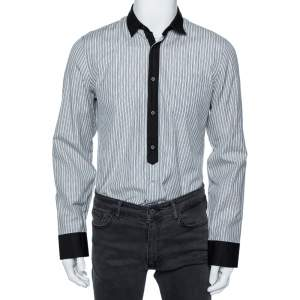 Gucci Grey Striped Cotton Contrast Collar and Cuff Detail Shirt M