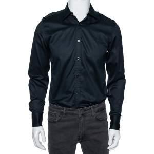 Gucci Black Cotton Epaulette Detail Button Front Shirt M