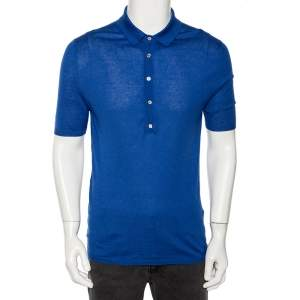 Gucci Blue Cashmere & Silk Knit Polo T Shirt XL