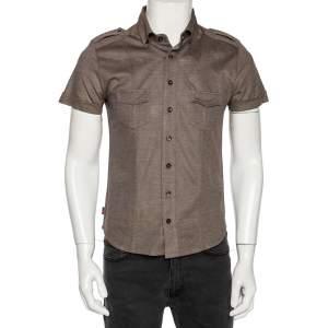 Gucci Brown Cotton Pique Safari Short Sleeve Shirt M
