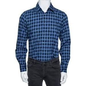 Gucci Blue Cotton Argyle Logo Monogram Button Front Fitted Shirt M