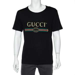 Gucci Black Logo Print Washed Cotton Distressed Effect Oversized T-Shirt S