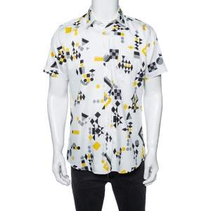 Gucci White Geometric Print Cotton Button Front Short Sleeve Shirt L
