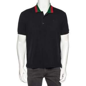 Gucci Black Cotton Pique Web Collar Detail Polo T-Shirt XL