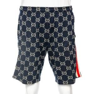 Gucci Navy Blue GG Jacquard Jersey Web Stripe Trim Detail Shorts L