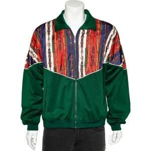 جاكيت غوتشي تيكنيكال جيرسيه وحرير أخضر  طباعة حزام مقاس كبير - لارج