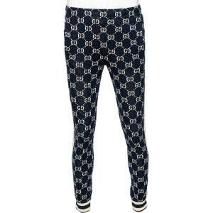 Gucci Navy Blue Logo Jacquard Side Stripe Detail Joggers M