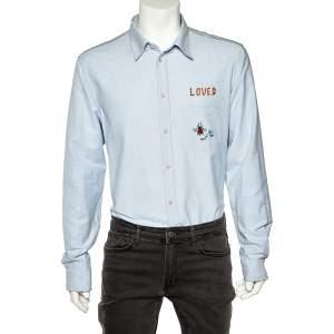 قميص غوتشي قطن أزرق مطرز جيب مزين أزرار أمامية مقاس كبير جدًا جدًا - إكس إكس لارج
