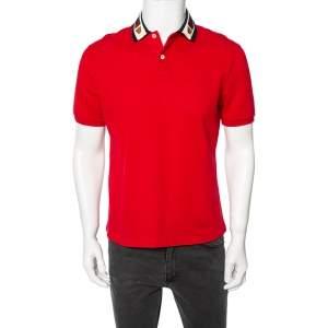 Gucci Red Cotton Pique Web Stripe & Feline Applique Detailed Collar Polo T-Shirt M
