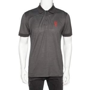 Gucci Grey Cotton Pique Logo Crest Printed Polo T-Shirt L