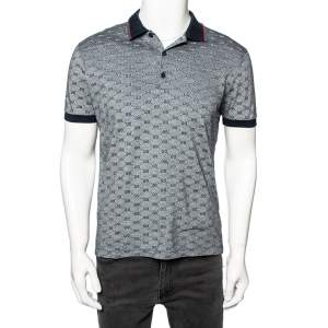 Gucci Navy Blue and White Monogram Jacquard Knit Polo T-Shirt XL