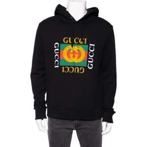 Gucci Black Distressed Logo Printed Cotton Hoodie M