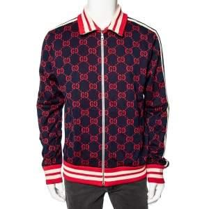 Gucci Navy Blue GG Jacquard Cotton Rib Knit Trimmed Jacket XL