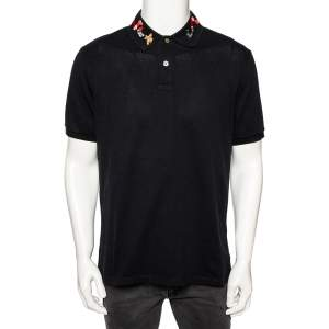 Gucci Black Stretch Cotton Snake Embroidered Collar Polo T-Shirt XXXL