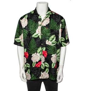 Gucci Black & Green Leaf Print Silk Button Front Short Sleeve Shirt XL