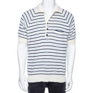 Gucci Cream & Blue GG Striped Knit Pocket Detailed Short Sleeve Polo T Shirt XL