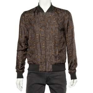 Gucci Grey Horsebit Printed Silk Rib Knit Trimmed Detailed Bomber Jacket XXXS