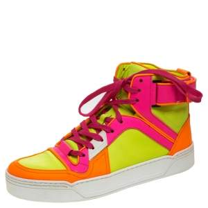 Gucci Neon Multicolor Leather Basketball High Top Sneakers Size 40