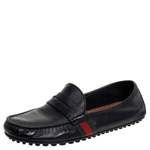 Gucci Black Leather Web Penny Loafers Size 40.5
