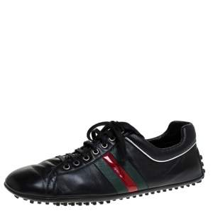 Gucci Black Leather Perforated Detail Web Low Top Sneakers Size 44.5