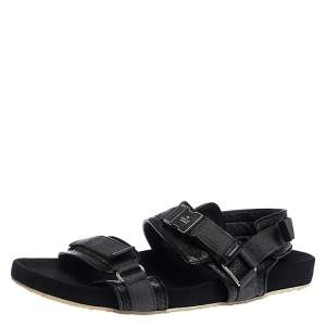 Gucci Black Leather And Canvas Velcro Slingback Sandals Size 45.5