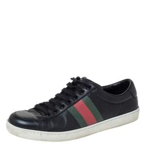 Gucci Black Perforated Leather Web Detail Low Top Sneakers Size 42.5